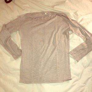 Gray boat neck, long sleeve shirt